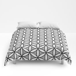 Flower of Life Pattern BW on Gray Comforters