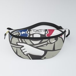 American Tire Mechanic Holding Tire Wrench USA Flag Circle Retro Fanny Pack
