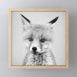 Baby Fox - Black & White Framed Mini Art Print
