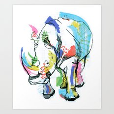 Rhino colour Art Print