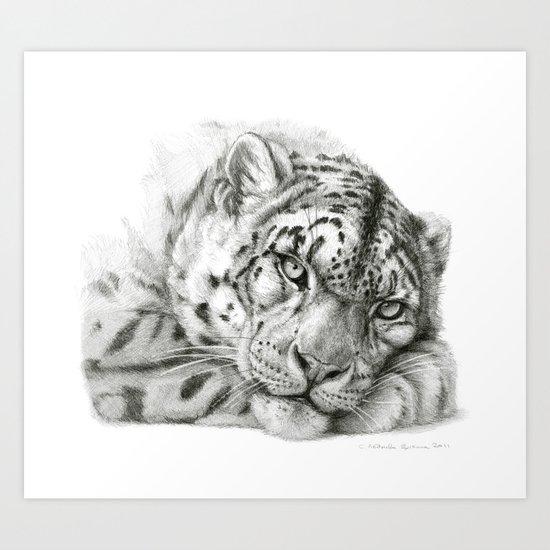 Pensive Snow Leopard G2011-011 Art Print