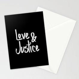 Love and Justice in Black White Stationery Cards