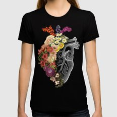 Flower Heart Spring Womens Fitted Tee Black LARGE