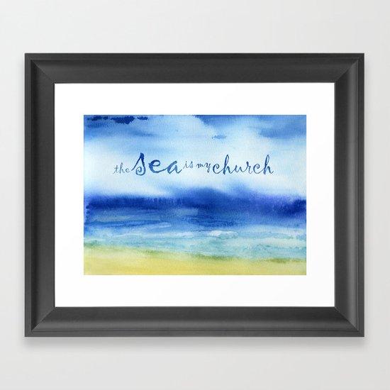 The Sea Is My Church (text) Framed Art Print