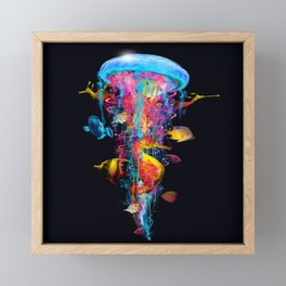 Super Electric Jellyfish with Seahorse and Fish Framed Mini Art Print