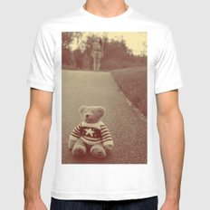teddy White MEDIUM Mens Fitted Tee