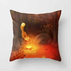 Fox and the Flower Throw Pillow