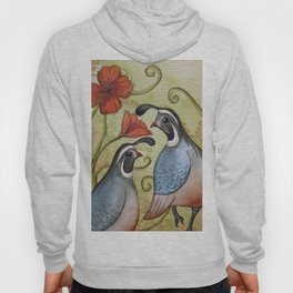 The quail and the poppy watercolor Hoody