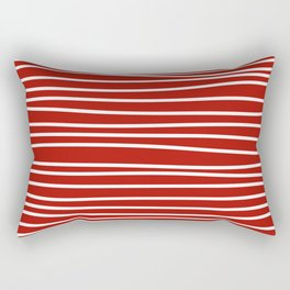 Red & White Maritime Hand Drawn Stripes - Mix & Match with Simplicity of Life Rectangular Pillow