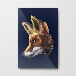 Fox watercolor painting woodland animal - foxes - animals - forest - Marine Blue Metal Print