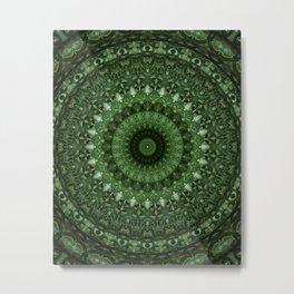Mandala in olive green tones Metal Print