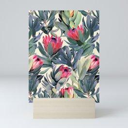 Painted Protea Pattern Mini Art Print