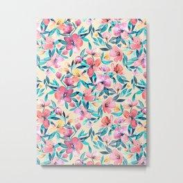 Peach Spring Floral in Watercolors Metal Print