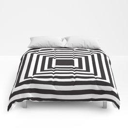 Illusion Squares Black and White Comforters