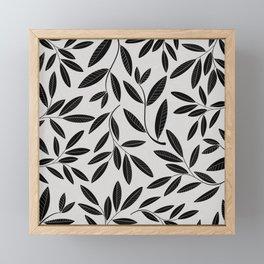 Black and White Plant Leaves Pattern Framed Mini Art Print