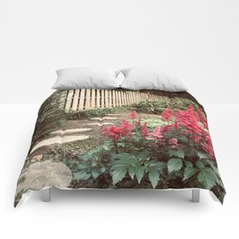 Tall Red Flowers & Path Comforters