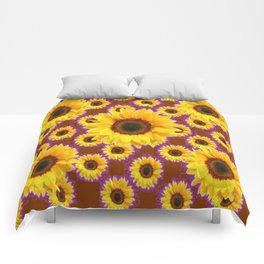 Brown & Violet Accents Color Sunflowers Pattern Comforters