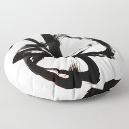 Brushstroke 4 - a simple black and white ink design Floor Pillow