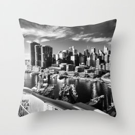 Sydney City and Barangaroo View from Darling Harbour in Black and White Throw Pillow