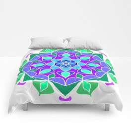 Mandala in blue and green colors Comforters