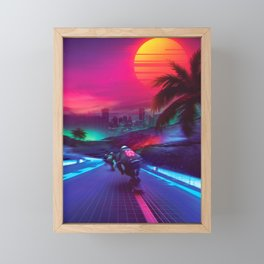 Synthwave Midnight Outrun Framed Mini Art Print