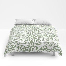 Green openwork background with irregular shapes Comforters