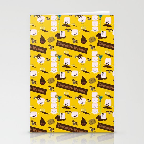 Chocolate Wasted (yellow) Stationery Cards