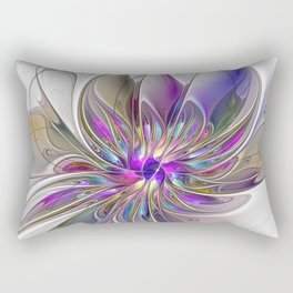 Energetic, Abstract And Colorful Fractal Art Flower Rectangular Pillow