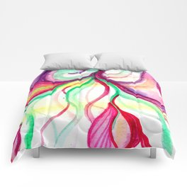 Red and Green Holiday watercolor Comforters