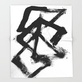 Brushstroke 5 - a simple black and white ink design Throw Blanket