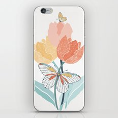 Butterflies and Tulips I iPhone & iPod Skin