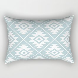 Aztec Symbol Ptn White on Duck Egg Blue Rectangular Pillow