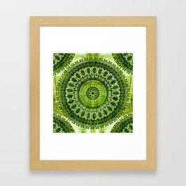 Vintage Lime Mandala Framed Art Print