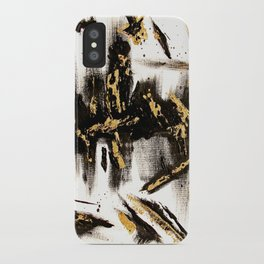 Modern abstract hand painted black gold foil acrylic paint brushstrokes iPhone Case
