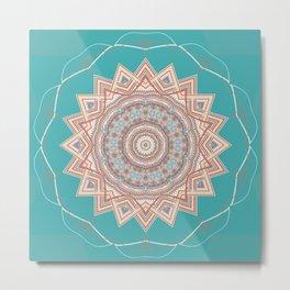 Bright Aqua Star Mandala Design Metal Print
