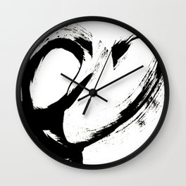 Brushstroke 6: a minimal, abstract, black and white piece Wall Clock
