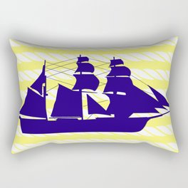 Blue Ship with Yellow Ropes Rectangular Pillow