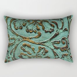 Aqua Flowers Tooled Leather Rectangular Pillow