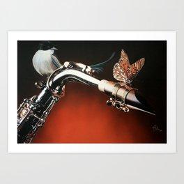 Flying Sax Art Print