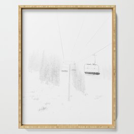 Ski Lift  // Black and White Snowy Climb Whiteout Foggy Minimal Epic Indie Alpine Photograph Serving Tray
