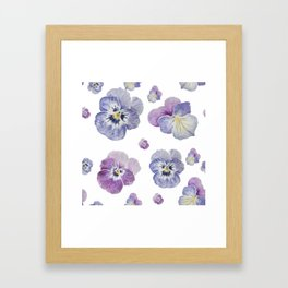 Watercolor Pansy Pattern Framed Art Print