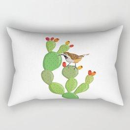 Cactus wren and opuntia Rectangular Pillow