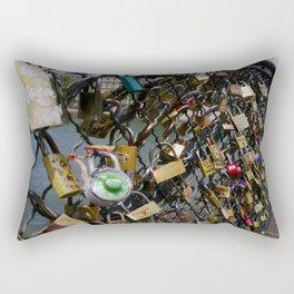 Love padlocks on Pont des Arts, Paris Rectangular Pillow