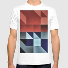 :: geometric maze IX :: Mens Fitted Tee MEDIUM White