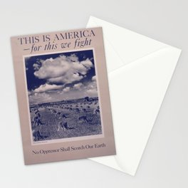 Vintage American World War 2 Poster - This is America: No Oppressor Shall Scorch Our Earth (1943) Stationery Cards