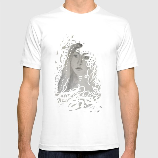grey face made of pencil and lace T-shirt