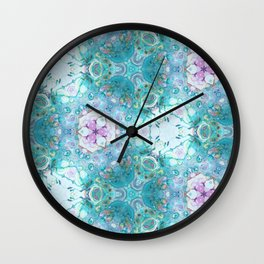 Pink Turquoise Mosaic - Abstract Geometric Art by Fluid Nature Wall Clock