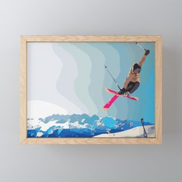 Man jumps with skies on piste with mountains and sky background Framed Mini Art Print