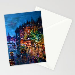 'Paris Boulevard' Night Scene Landscape Paitning by Konstantin Korovin Stationery Cards