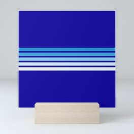 Retro Stripes on Blue Mini Art Print